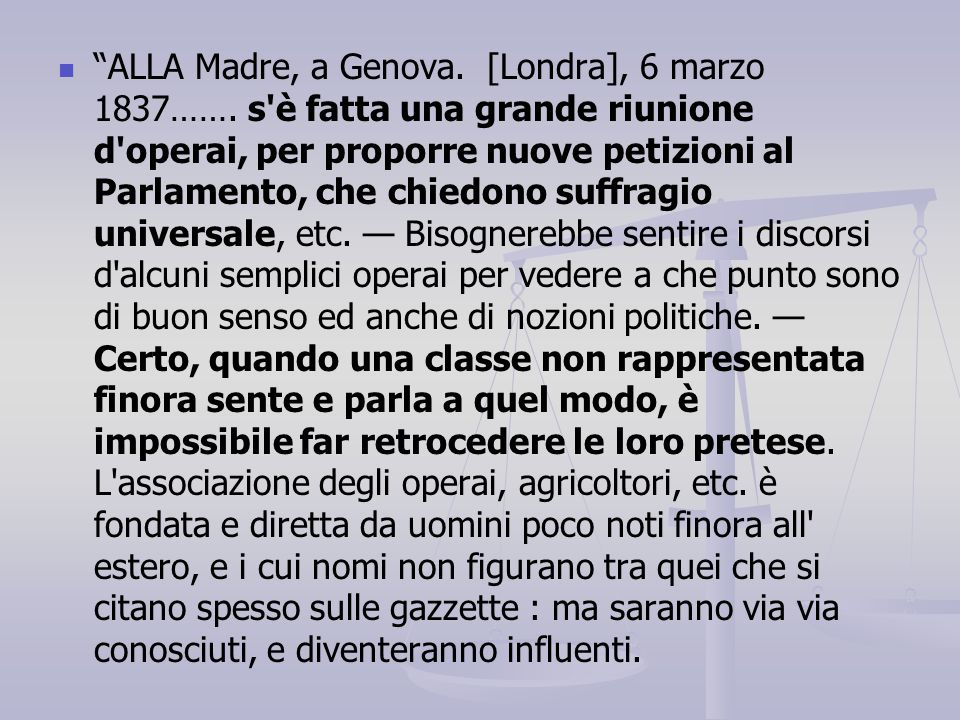 ALLA Madre, a Genova. [Londra], 6 marzo 1837……